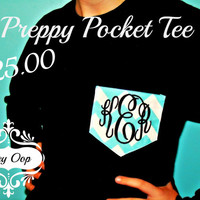 Preppy Monogrammed personalized Fabric pocket t-shirt Tee short or long sleeve