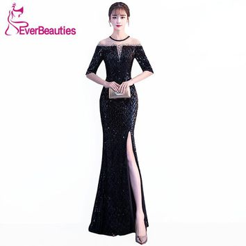 Mermaid Black Evening Dresses 2018 Tulle with Sequin Side Split Robe De Soiree Evening Gowns Long Prom Party Dresses