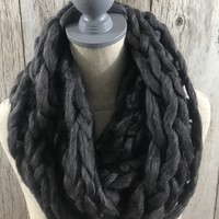 Ultra Soft Chunky Infinity Scarf- Charcoal