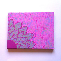 Grey and magenta pink flower fashionable acrylic canvas painting for trendy baby girls room