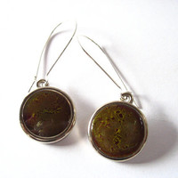 Resin earrings jewelry , green brown round silver earrings jewellery , womans  earrings , silver disc earrings , resin australia