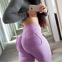 NORMOV  Women Pants Sexy Push Up Fitness Leggings  High Waist Leggins Workout candy color Leggings Pockets S-XL