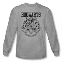 Hogwarts Crest Athletic Adult Heather Long Sleeve T-Shirt |
