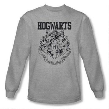Hogwarts Crest Athletic Adult Heather Long Sleeve T-Shirt | WBshop.com
