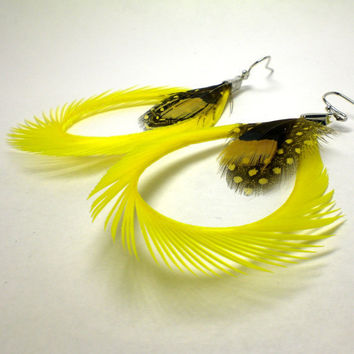 Unique Feather Earrings Drop Yellow Feather by donaarg on Etsy