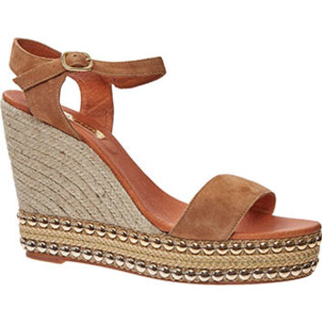 Maypol Tan Suede Studded Wedge Espadrilles