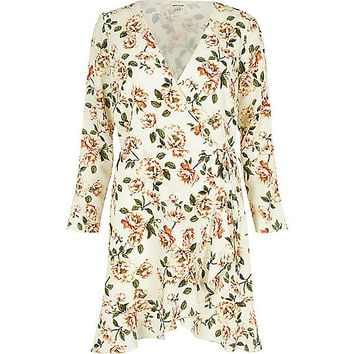 Cream floral print ruffle hem wrap dress