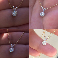 Antique Fiery .37 ct Old European Cut Diamond Solitaire Pendant Necklace 14k White Gold Mothers Day Bridal Wedding Gift Idea