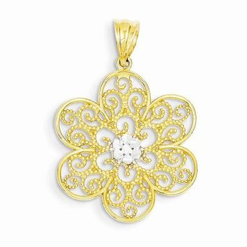 14k Gold & Rhodium Diamond-cut Concave Filigree Flower Pendant
