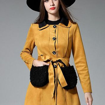 Yellow Faux Suede Tie Waist Fluffy Pocket Long Sleeve Coat