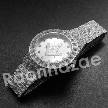 Iced Out Hip Hop Freemason Silver Nugget Watch