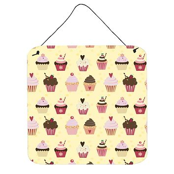 Cupcakes on Yellow Wall or Door Hanging Prints BB7295DS66