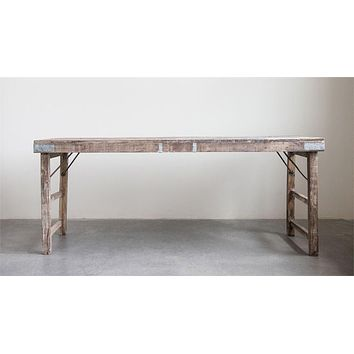 Reclaimed Wood Folding Table w/ Tin Patches 68-in