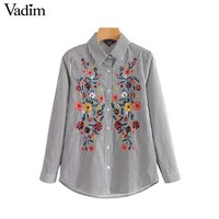Vadim vintage floral embroidery striped shirts long sleeve pleated blouse retro ladies office wear chic tops blusas LT2638