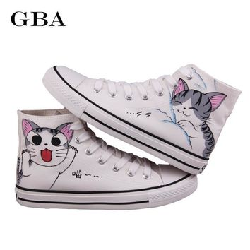 Gba New 2018 Spring Autumn Women Hand Painted Canvas Shoes Lazy Cat High Help Colored Drawing Casual Shoes Academy Sport Loafers