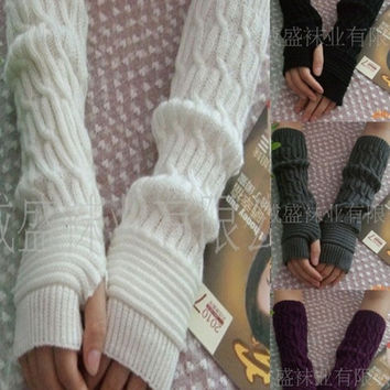 Long Arm Warmers Knitting Pattern : Shop Black And White Arm Warmers on Wanelo