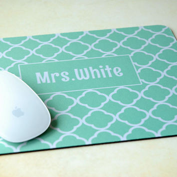 Personalized Desk Accessory, Geometric Mint + White Clover Pattern Monogram Mouse Pad, Personalized Mouse Pad, Mrs, Wedding, Teacher Gift