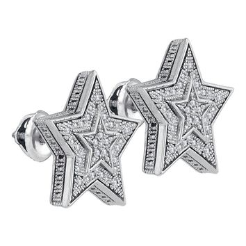Sterling Silver Men's Round Diamond Star Cluster Stud Earrings 1-10 Cttw - FREE Shipping (USA/CAN)