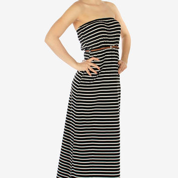 Strapless Striped Maxi Dress - Black