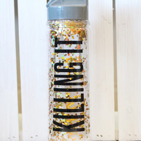 Killing It Gold Confetti Water Bottle {18oz}