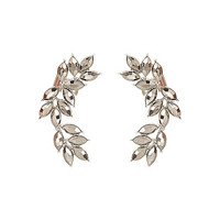 River Island Womens Silver tone leaf statement ear cuffs