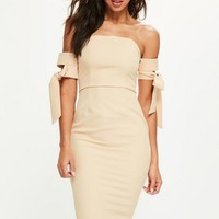 Missguided - Nude Tie Bardot Sleeve Midi Dress