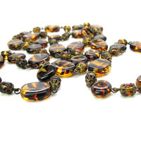 Tiger Stripe Beaded Necklace Layering Czech Glass Oval Brown & Amber Beads Long Rope with Filigree Vintage 1950s Fashion Jewelry