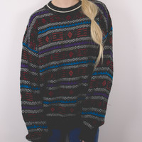 Vintage Marled Colorful Aztec Sweater