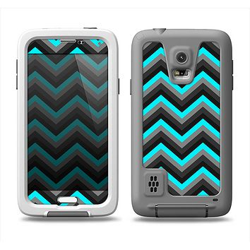 The Turquoise-Black-Gray Chevron Pattern Samsung Galaxy S5 LifeProof Fre Case Skin Set