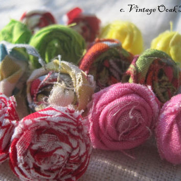 Fabric Rose Earrings  Eclectic Petite by VintageOoakDesigns