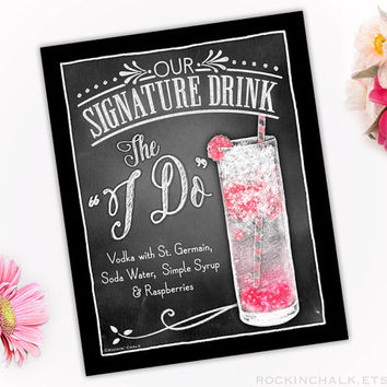 Personalized Signature Drink Sign | Illustrated Cocktail Print (Unframed) Bar Decoration-Weddings-Showers-Rehearsals - The I Do Cocktail