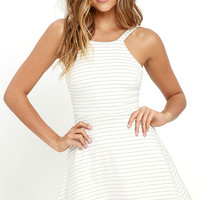 Shortlist Black and Ivory Striped Skater Dress