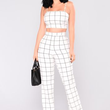 Line By Line Pant Set - White/Black