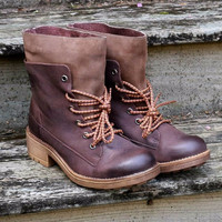 Free Ride Brown Lace Up Ankle Boot With Wraparound Tongue Guard