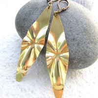 Geometric Earrings Golden Dangle Earrings by pearlatplay on Etsy
