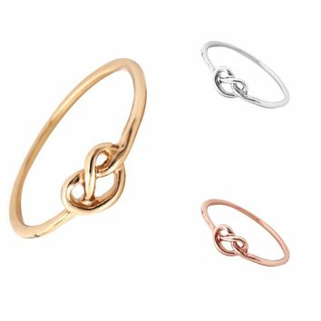 Min 1pc Gold Silver and Rose Gold Heart Knot Ring Everyday Jewelry Infinity Adjustable Ring JZ071