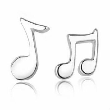 DCCKJY1 SUSENSTONE  Fashion Jewelry Cute Lovely Musical Note women girl Silver Stud Earrings