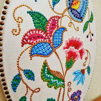 Flower plaque Embroidery painting Retro decor
