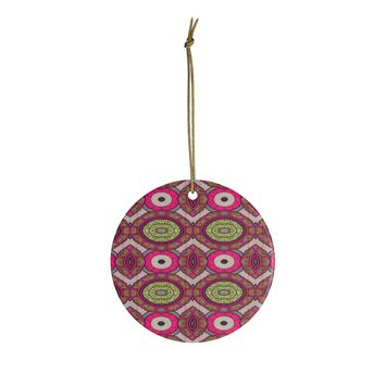 Green And Burgundy African Inspired Ceramic Ornaments