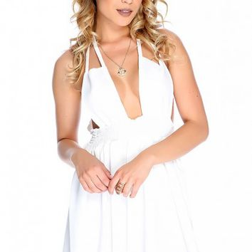 Sexy White Strappy Plunge Neck Casual Dress