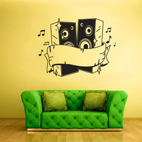 rvz1749 Wall Decal Vinyl Sticker Note Notes Wave Music Flowers Bass Curly Nice
