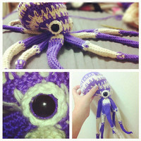 Octopus Plushie Purple and White Sparkly Striped Stuffed Animal
