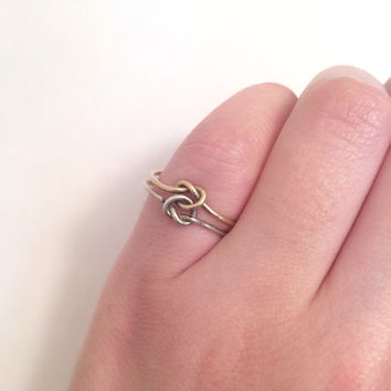 1960s Sterling Silver Double Knot Dainty Band Ring