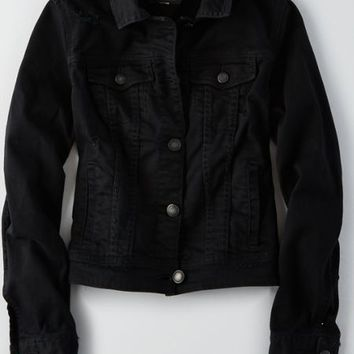 AEO Denim Jacket , Black | American Eagle Outfitters