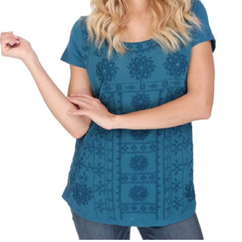 Lucky Brand  Embroidered Tee Peacock