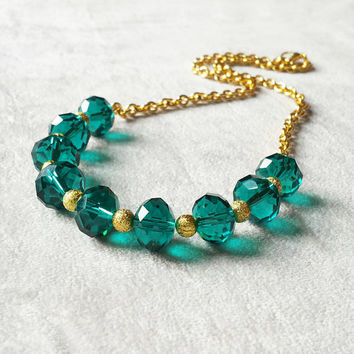 Emerald Necklace, May Birthstone, Statement Necklace, Boho Necklace, Gold Necklace, free shipping