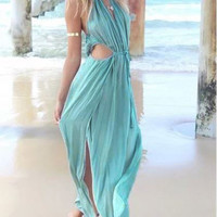Mint Green Ruched Halter Neckline Cut-Out Maxi Dress
