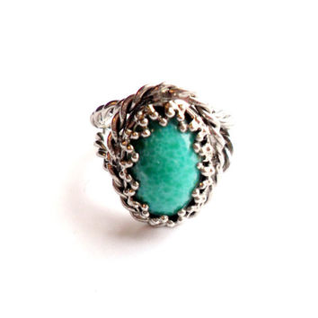 Vintage Faux Jade Ring Adjustable Rope Band Open Back Peking Art Glass Green White Marbled Mottled Silver Tone Metal