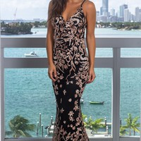 Black Floral Embroidered Maxi Dress