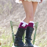 Lace Leg Warmers OTK Cable Knitted Boot Socks by ThreeBirdNest
